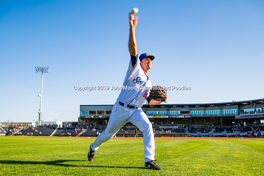 Amarillo Sod Poodles pitcher Jesse Scholtens (38) before the game against the Northwest Arkansas Travelers on Saturday, July 20, 2019, at HODGETOWN in Amarillo, Texas. [Photo by John Moore/Amarillo Sod Poodles]