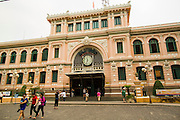 27 MARCH 2012 - HO CHI MINH CITY, VIETNAM:   The main post office in Ho Chi Minh City, Vietnam. Ho Chi Minh City, which used to be known as Saigon, is the largest city in Vietnam and the commercial hub of southern Vietnam.   PHOTO BY JACK KURTZ