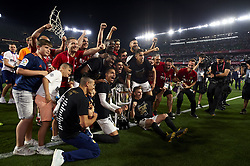 May 25, 2019 - Seville, Spain - Valencia players celebrate woth the trophy after winning the the Spanish Copa del Rey match between Barcelona and Valencia at Estadio Benito Villamarin on May 25, 2019 in Seville. (Credit Image: © Jose Breton/NurPhoto via ZUMA Press)