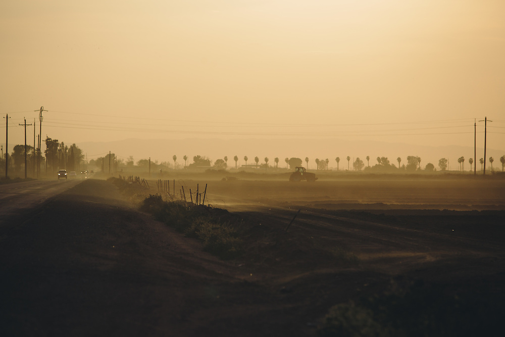 A brief dust storm rolls through Arvin, California. Arvin is an agricultural community set at the base of the Central Valley, south of Bakersfield.