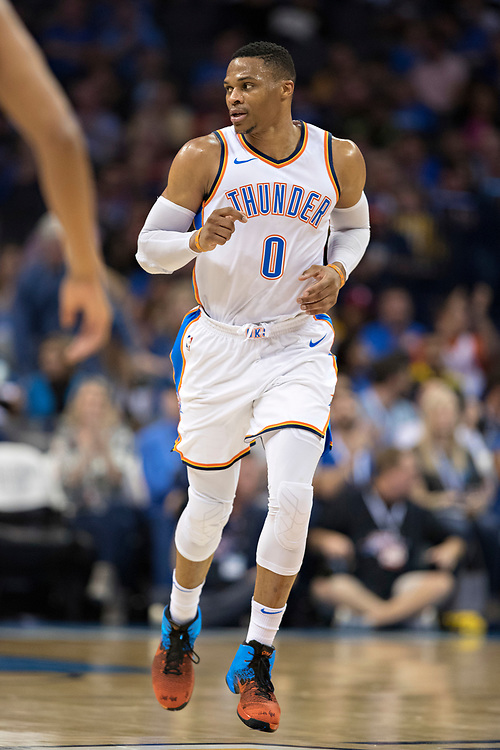 OKLAHOMA CITY, OK - OCTOBER 25:  Russell Westbrook #0 of the Oklahoma City Thunder jogs down the court during a game against the Indiana Pacers at the Chesapeake Energy Arena on October 25, 2017 in Oklahoma City, Oklahoma.  NOTE TO USER: User expressly acknowledges and agrees that, by downloading and or using this photograph, User is consenting to the terms and conditions of the Getty Images License Agreement.  The Thunder defeated the Pacers 114-96.  (Photo by Wesley Hitt/Getty Images) *** Local Caption *** Russell Westbrook