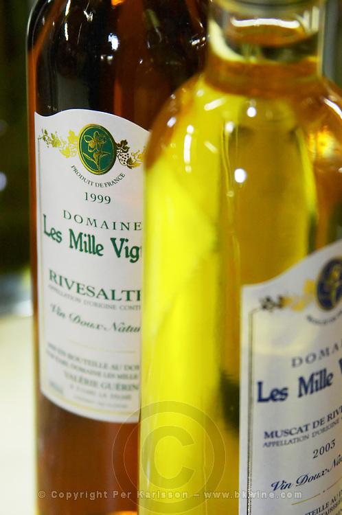 Rivesaltes and Muscat de Rivesaltes, VDN Vin Doux Naturel. Domaine les Milles Vignes. Fitou. Languedoc. France. Europe. Bottle.