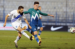 Kostas Fortounis of Greece vs Benjamin Verbic of Slovenia during football match between National teams of Greece and Slovenia in Final tournament of Group Stage of UEFA Nations League 2020, on November 18, 2020 in Georgios Kamaras Stadium, Athens, Greece. Photo by BIRNTACHAS DIMITRIS / INTIME SPORTS / SPORTIDA