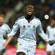 Fenerbahce's Moussa Sow celebrate his goal during their Turkish superleague soccer match Gaziantepspor between Fenerbahce at the Kamil Ocak stadium in Gaziantep Turkey on Saturday 14 February 2015. Photo by TURKPIX