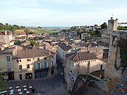 A local square with cafe and terrace in the historical town of Saint Emilion, France