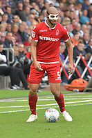 Football - 2018 / 2019 Sky Bet EFL Championship - Swansea City vs. Nottingham Forest<br /> <br /> Adlène Guédioura of Nottingham Forest wearing a mask on the ball, at Liberty Stadium.<br /> <br /> COLORSPORT/WINSTON BYNORTH
