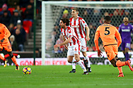 Joe Allen of Stoke City (c) makes a break. Premier league match, Stoke City v Liverpool at the Bet365 Stadium in Stoke on Trent, Staffs on Wednesday 29th November 2017.<br /> pic by Chris Stading, Andrew Orchard sports photography.