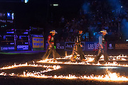 The PBR puts on quite a show and it's not just when the riders are on the bulls.  The show begins with pyrotechnics and is scattered with entertaining dialogue to fill the gaps in between rides.
