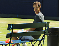Tennis - 2018 Queen's Club Fever-Tree Championships - Day One, Monday<br /> <br /> Andy Murray sits it out during training, on Court 7.<br /> <br /> COLORSPORT/ANDREW COWIE