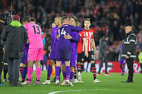 Football - 2018 / 2019 Premier League - Southampton vs. Liverpool<br /> <br /> Jordan Henderson of Liverpool celebrates with Roberto Firmino of Liverpool at the final whistle as Liverpool go back to the top of the Premier league after winning at St Mary's Stadium Southampton<br /> <br /> COLORSPORT/SHAUN BOGGUST