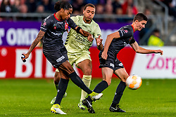 27-09-2018 NED: FC Utrecht - MVV Maastricht, Utrecht<br /> First round Dutch Cup stadium Nieuw Galgenwaard / Shermar Martina #4 of MVV, Cyriel Dessers #11 of FC Utrecht, Luc Mares #17 of MVV