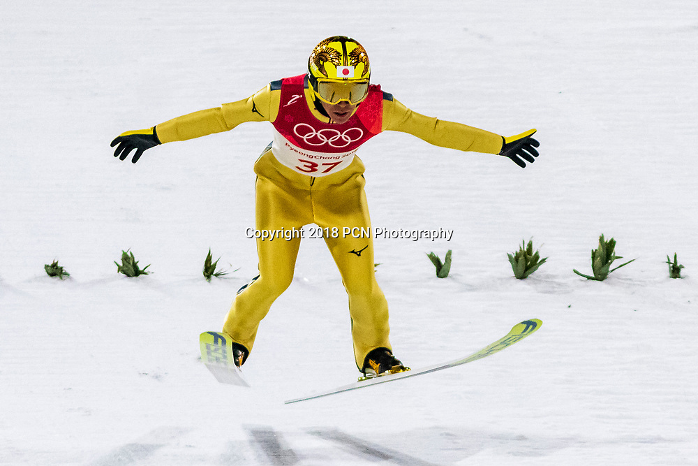 Noriaki Kasai (JPN) competing in the Ski Jumping Men's Normal Hill qualification round at the Olympic Winter Games PyeongChang 2018