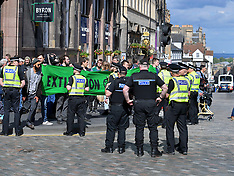 Climate change protesters block city centre roads, Edinburgh, 17 June 2019