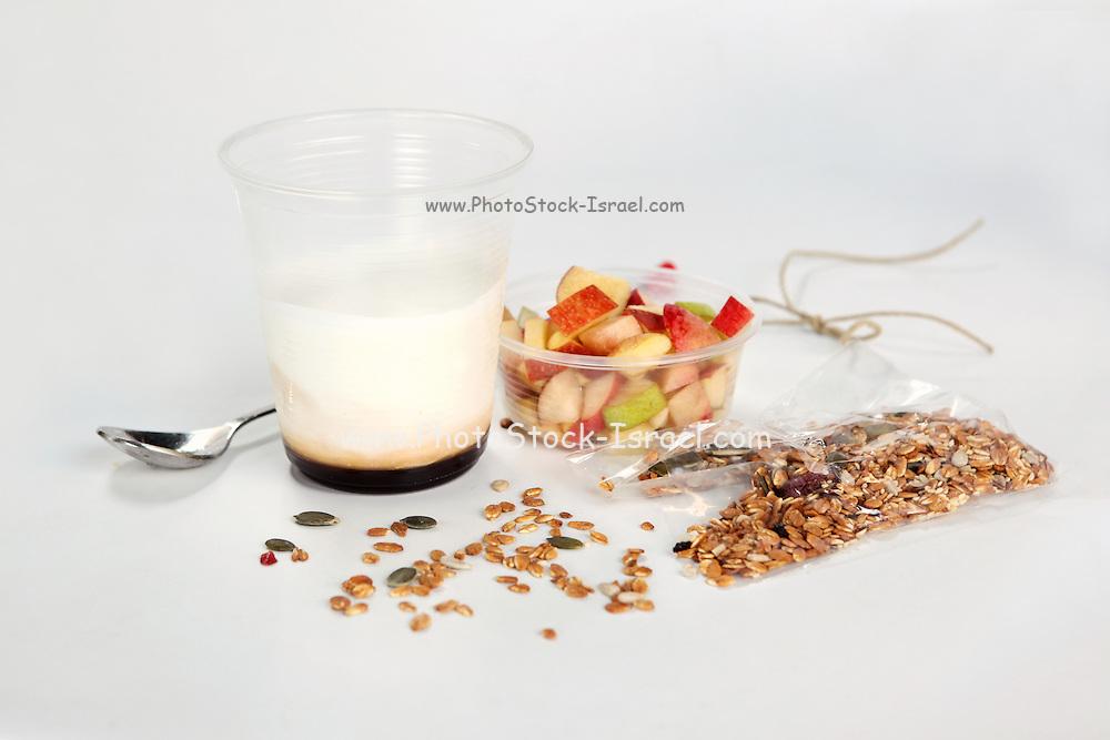 Granola fruit and yogurt take away meal