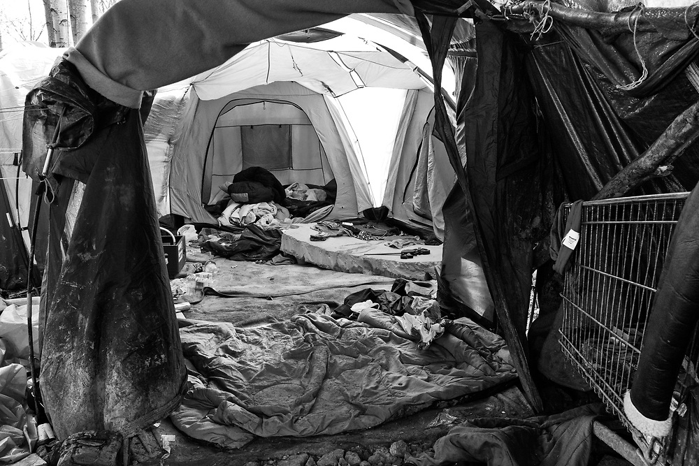 The remains of France's 'forgotten migrant camp' Grande-Synthe.<br /> April 2016. Food, clothing and personal belongs left behind as the refugees are moved onto another site. Basroch refugee camp.