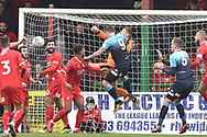 Swindon Town goalkeeper Luke McCormick (1) makes an important save  during the The FA Cup 2nd round match between Swindon Town and Woking at the County Ground, Swindon, England on 2 December 2018.