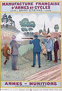 Cover of catalogue of Manufrance (Manufacture Francaise d'Armes et Cycles) Saint Etienne, c1920.  Men and boys tesing a new shotgun.