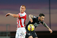 Steve Sidwell of Stoke City (left) competes with Danny Ings of Burnley - Football - Barclays Premier League - Stoke City vs Burnley - Britannia Stadium Stoke - Season 2014/2015 - 22nd November 2015 - Photo Malcolm Couzens /Sportimage