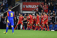 Aaron Ramsey of Wales celebrates with teammates scoring the 1st goal. Wales v Andorra, Euro 2016 qualifying match at the Cardiff city stadium  in Cardiff, South Wales  on Tuesday 13th October 2015. <br /> pic by  Andrew Orchard, Andrew Orchard sports photography.