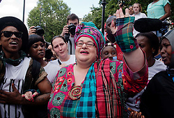 © Licensed to London News Pictures. 07/08/2015. <br /> LONDON, UK. Kids Company founder, CAMILLA BATMANGHELIDJH participates in a Kids Company protest on Whitehall after the charity closed on Wednesday, London, Friday 07 August 2015. Photo credit : Hannah McKay/LNP