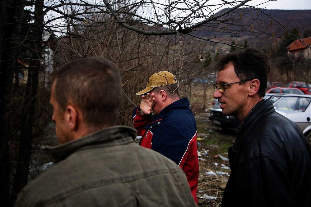 At the site of a mining disaster near the city of Zenica, Bosnia and Herzegovina. One man was killed and 14 were injured when there was a methane explosion. Many of the men working at the small mine lived in the surrounding village and much of the town, including the victims' famalies, surrounded the front gate waiting for information about who was hurt and their condition..Poor mining conditions are typical in the ex-Yugoslavia and this incident, though relatively uncommon, is expected in this line of work.