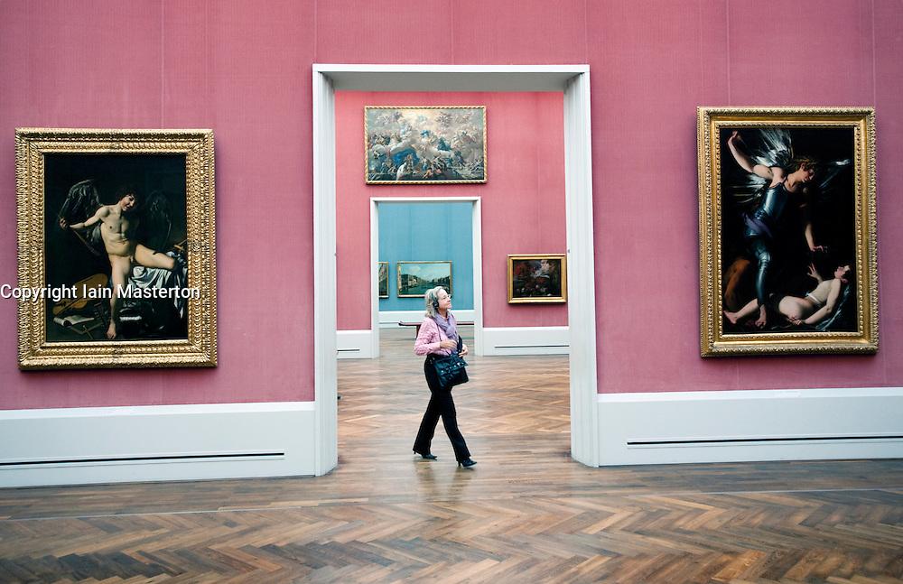 Important artworks on display inside Gemaldegalerie art museum at the Kulturform complex in Berlin Germany