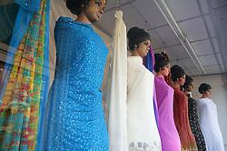 A shop window display of Sari fabric,