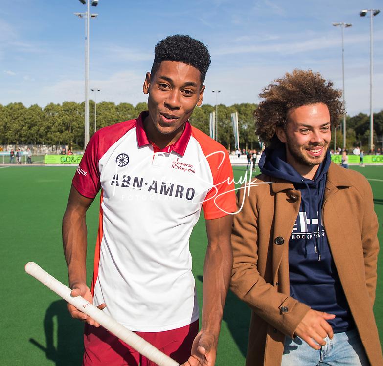 ALMERE - Hockey - Terrance Pieters (Almere) met Floris Kuiper (Almere) na de hoofdklasse hockeyswedstrijd heren, Almere-Rotterdam (2-2).  COPYRIGHT KOEN SUYK