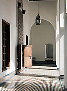 The tiled, Zellij, floor at the Dar Batha Museum in Fes, Morocco