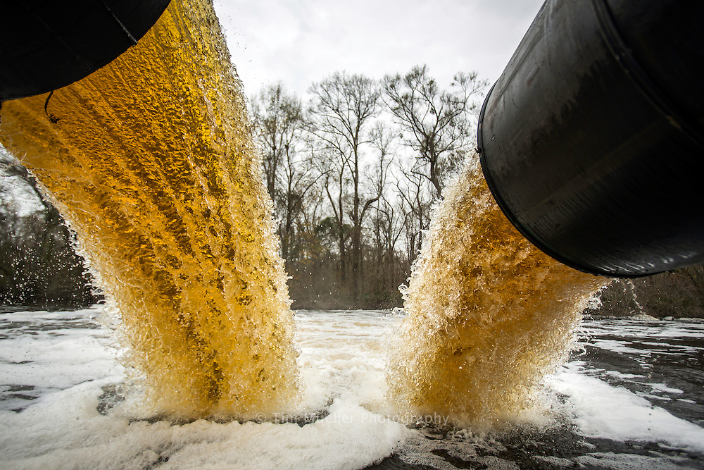 Rain for Rent's floating pump moves water from Alligator Bayou to Bayou Manchac in Ascension Parish Louisiana.