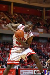 06 December 2008: Dinma Odiakosa takes possession of a defensive rebound during a game where the  Illinois State University Redbirds extended their record to 8-0 with a 78-65 win over the Bowling Green Falcons on Doug Collins Court inside Redbird Arena on the campus of Illinois State University in Normal Illinois