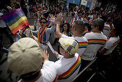 April 28, 2019 - Tokyo, Tokyo, Japan - Participants march in the Tokyo Rainbow Pride parade on the streets of Tokyo, Japan, 28 April 2019. People participated in the march, of sexual minorities of the LGBT (lesbian, gay, bisexual, and transgender) community and their supporters paraded through the streets of downtown Tokyo to promote a society free of prejudice and discrimination. (Credit Image: © Alessandro Di Ciommo/NurPhoto via ZUMA Press)