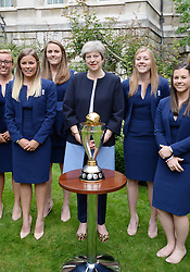 August 29, 2017 - London, United Kingdom - Prime Minister Theresa May with members of the England Women's World Cup winning cricket team and their trophy at a reception at No 10. Downing Street in London. (Credit Image: © Pool/i-Images via ZUMA Press)