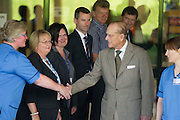DUKE OF EDINBURGH LEAVES ABERDEEN ROYAL INFIRMARY AFTER SPENDING FINE NIGHTS THERE WITH A BLADDER INFECTION ..  PIC OF THE DUKE SAYING GOODBYE TO STAFF AND HOSPITAL EXECUTIVES.PIC DEREK IRONSIDE / NEWSLINE SCOTLAND