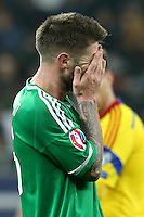 ROMANIA, Bucharest: Northern Ireland's Oliver Norwood is disappointed during the Euro 2016 Group F qualifying football match Romania vs Northern Ireland in Bucharest, Romania on November 14, 2014.