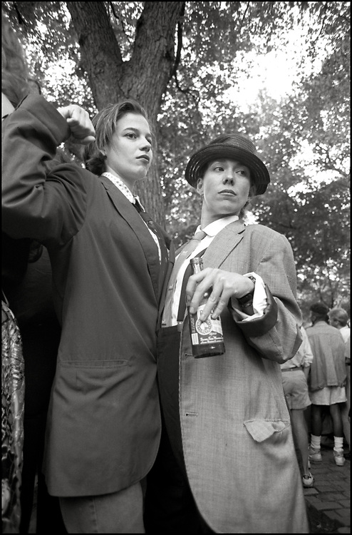 Heidi Dorow and Maria Maggenti at Wigstock, an annual outdoor drag festival that began in the 1980s in Tompkins Square Park in the East Village of New York City that took place on Labor Day in 1989.