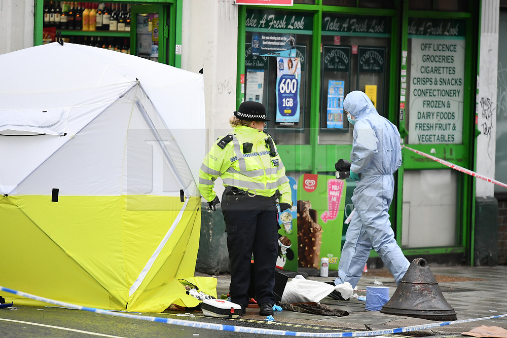 © Licensed to London News Pictures. 10/02/2019. London, UK. The scene on Lordship Lane in East Dulwich, south London where a man, believed to be in his 30's, was stabbed to death in the early hours of this morning. Photo credit: Ben Cawthra/LNP