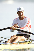 Barcelona Olympics 1992 - Lake Banyoles, SPAIN, GER  M1X LANGE, Thomas, Gold medallist, Photo: Peter Spurrier/Intersport Images.  Mob +44 7973 819 551/email images@intersport-images.com