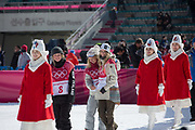 Zoi Sadowski Synnott, New Zealand, BRONZE with Anna Gasser, Austria, GOLD and Jamie Anderson, USA SILVER during the womens snowboard big air flower ceremony at the Pyeongchang 2018 Winter Olympics on 22nd February 2018, at the Alpensia Ski Jumping Centre in Pyeongchang-gun, South Korea