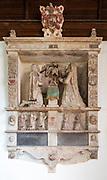 17th century Acton memorial  inside church of Saint Peter, Baylham, Suffolk, England, UK