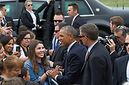 President Barack Obama arrives at South Bend International airport.  Obama is set to speak at Concord High School, then at the Lerner Theater.