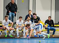 AMSTERDAM -   Jasper Tukkers (Den Bosch) met Casper Roelofs (Kampong) . Zaalhockey hoofdklasse, Den Bosch H1-Kampong H1. COPYRIGHT KOEN SUYK