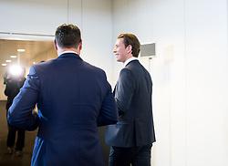 28.11.2017, Ausweichquartier Parlament, Wien, AUT, Koalitionsverhandlungen von ÖVP und FPÖ anlässlich der Nationalratswahl 2017, im Bild FPÖ-Chef Heinz-Christian Strache und ÖVP-Chef Sebastian Kurz // Head of the Austrian Freedom Party (FPOe) Heinz-Christian Strache and Head of the Austrian Peoples Party (OeVP) Sebastian Kurz during coalition negotiations between the Austrian Peoples Party and Austrian Freedom Party due to general elections 2017 in Vienna, Austria on 2017/11/28, EXPA Pictures © 2017, PhotoCredit: EXPA/ Michael Gruber
