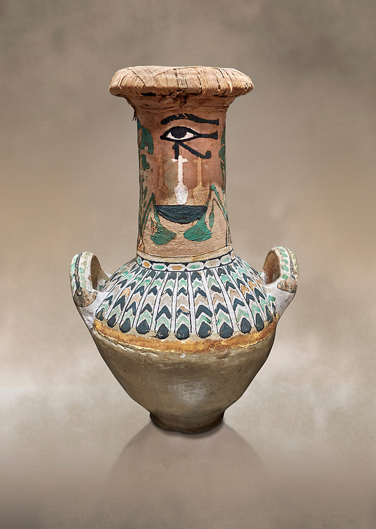 Ancient Egyptian  decorated jar sealed with linen , tomb of Kha, Theban Tomb 8 , mid-18th dynasty (1550 to 1292 BC), Turin Egyptian Museum. <br /> <br /> TT8 or Theban Tomb 8 was the tomb of Kha, the overseer of works from Deir el-Medina in the mid-18th dynasty[2] and his wife, Merit. TT8 was one of the greatest archaeological discoveries of ancient Egypt, one of few tombs of nobility to survive intact. .<br /> <br /> If you prefer to buy from our ALAMY PHOTO LIBRARY  Collection visit : https://www.alamy.com/portfolio/paul-williams-funkystock/ancient-egyptian-art-artefacts.html  . Type -   Turin   - into the LOWER SEARCH WITHIN GALLERY box. Refine search by adding background colour, subject etc<br /> <br /> Visit our ANCIENT WORLD PHOTO COLLECTIONS for more photos to download or buy as wall art prints https://funkystock.photoshelter.com/gallery-collection/Ancient-World-Art-Antiquities-Historic-Sites-Pictures-Images-of/C00006u26yqSkDOM