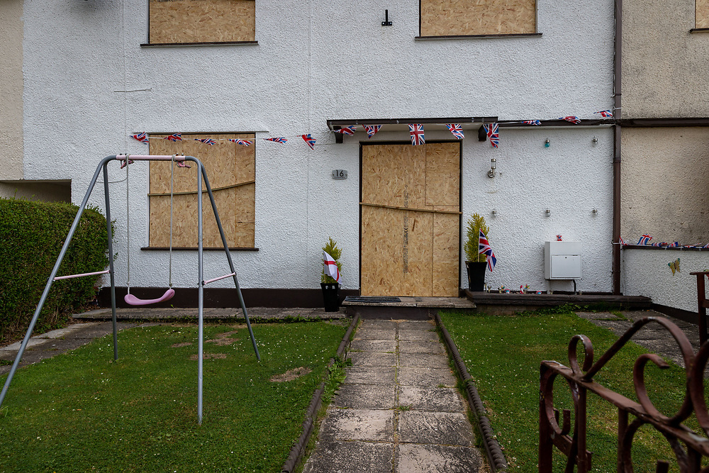 Many homes close to largest bonfire in Belfast have been boarded up to protect the properties from heat damage when the fire is lit. Larne, Craigyhill. Belfast, NI, 2021.