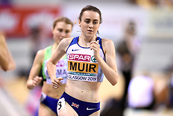 Great Britain's Laura Muir (centre) during the 1500m Women Heat 1 during day one of the European Indoor Athletics Championships at the Emirates Arena, Glasgow.