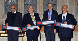 """(left to right) Ahmed """"Kathy"""" Kathrada and Denis Goldberg, who were sentenced to life imprisonment on Robben Island alongside Nelson Mandela, receive the Freedom of the City of London award alongside Lord Joel Joffe and George Bizos from their defence team, in recognition of their fight for freedom and racial equality at Guildhall's Livery Hall, in central London."""
