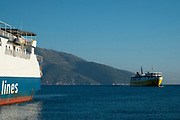 Ionian Lines ferry in Sami, Kefalonia, Greece. Kefalonia is an island in the Ionian Sea, west of mainland Greece.