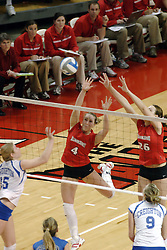 24 November 2006: Sarah Schulze sends the ball towards Erin Lindsey (4) and Kari Staehlin during a Quarterfinal match between the Illinois State University Redbirds and the Creighton University Bluejays. The Tournament was held at Redbird Arena on the campus of Illinois State University in Normal Illinois.<br />