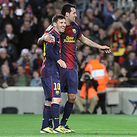 06.01.2013 Barcelona, Spain. La Liga day 18. Leo Messi ans Sergio Busquets after scoring during game between FC Barcelona against RCD Espanyol at Camp Nou